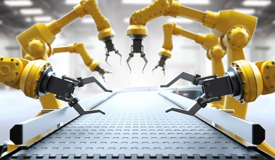 robots with production machinery